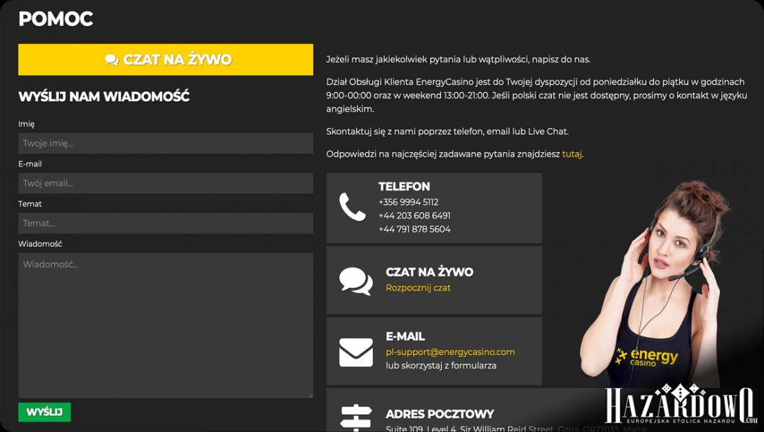 Recenzja Kasyna Energy w Portalu Hazardowo - Obsługa Klienta