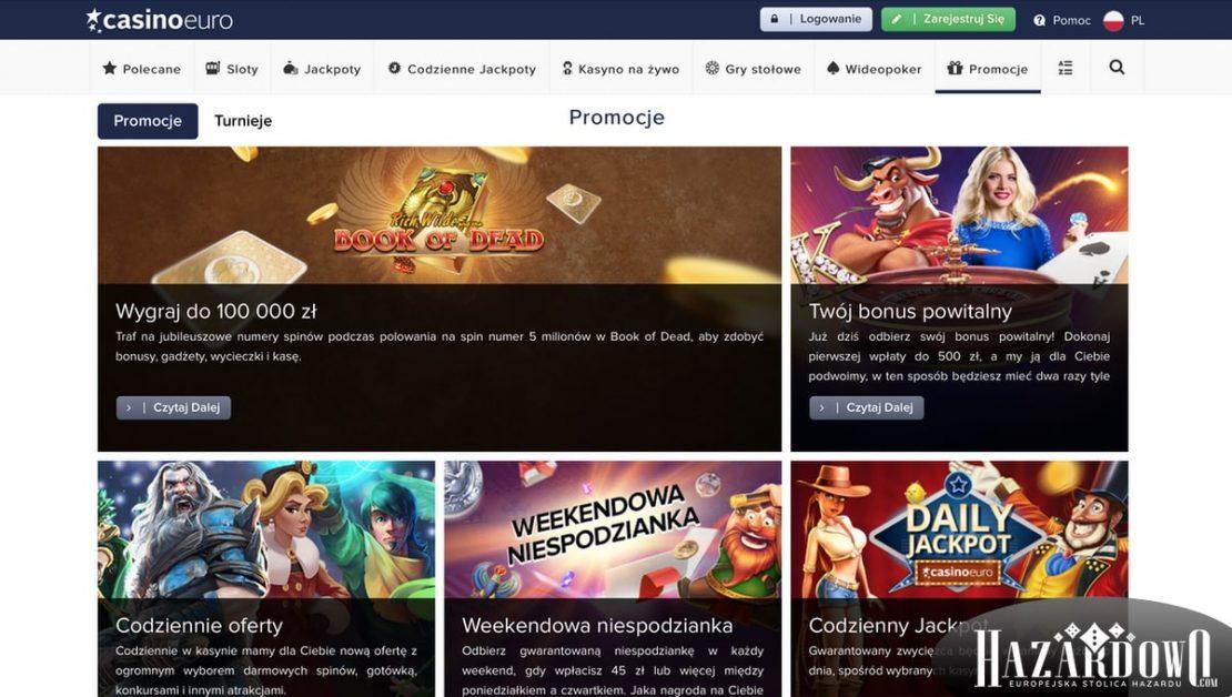 Recenzja kasyna online Casino Euro w portalu Hazardowo - Promocje