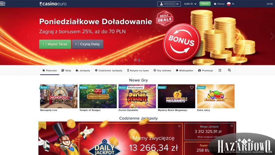 Recenzja kasyna online Casino Euro w portalu Hazardowo - strona główna kasyna