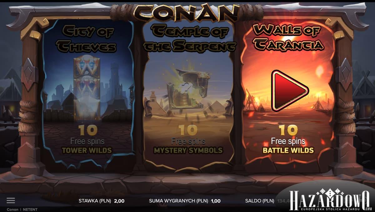 Hazardowo - Automat do gry Conan - Trzy Tryby Free Spin