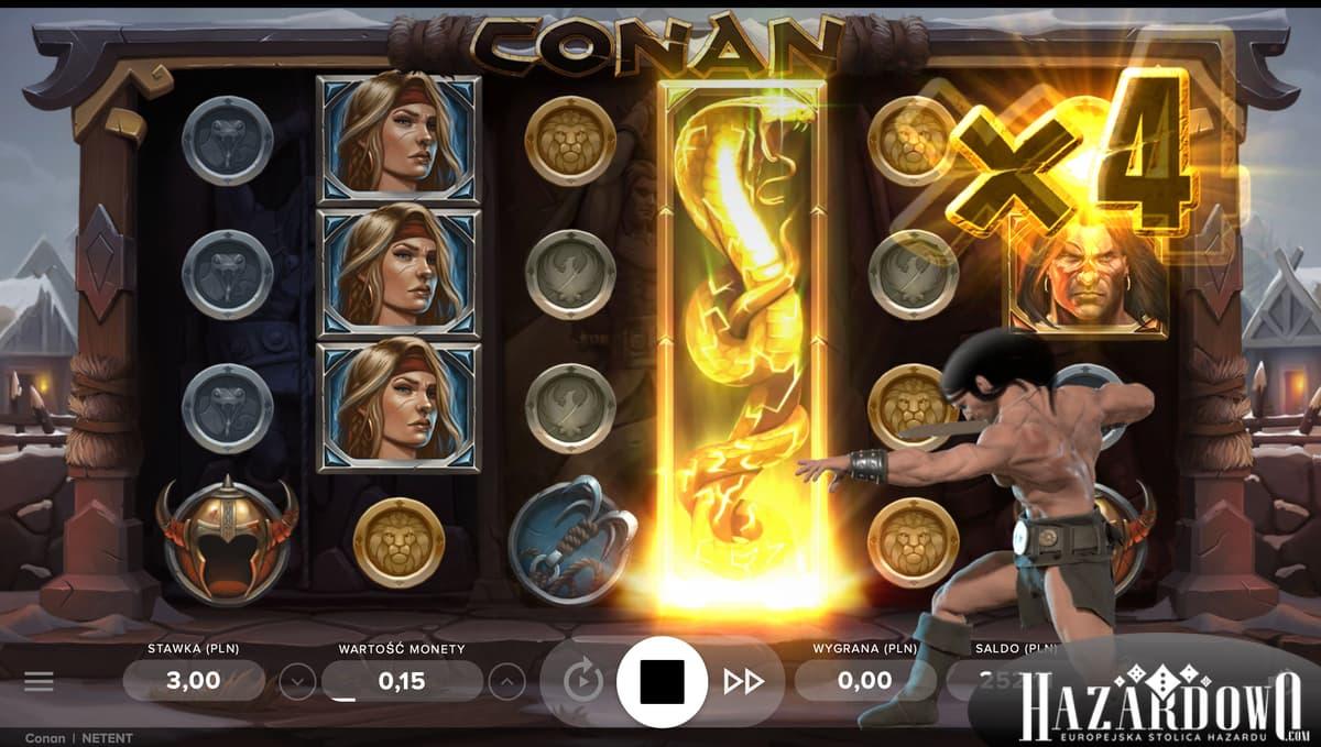 Hazardowo - Automat do gry Conan - Wygrana z Mnożnikiem x4