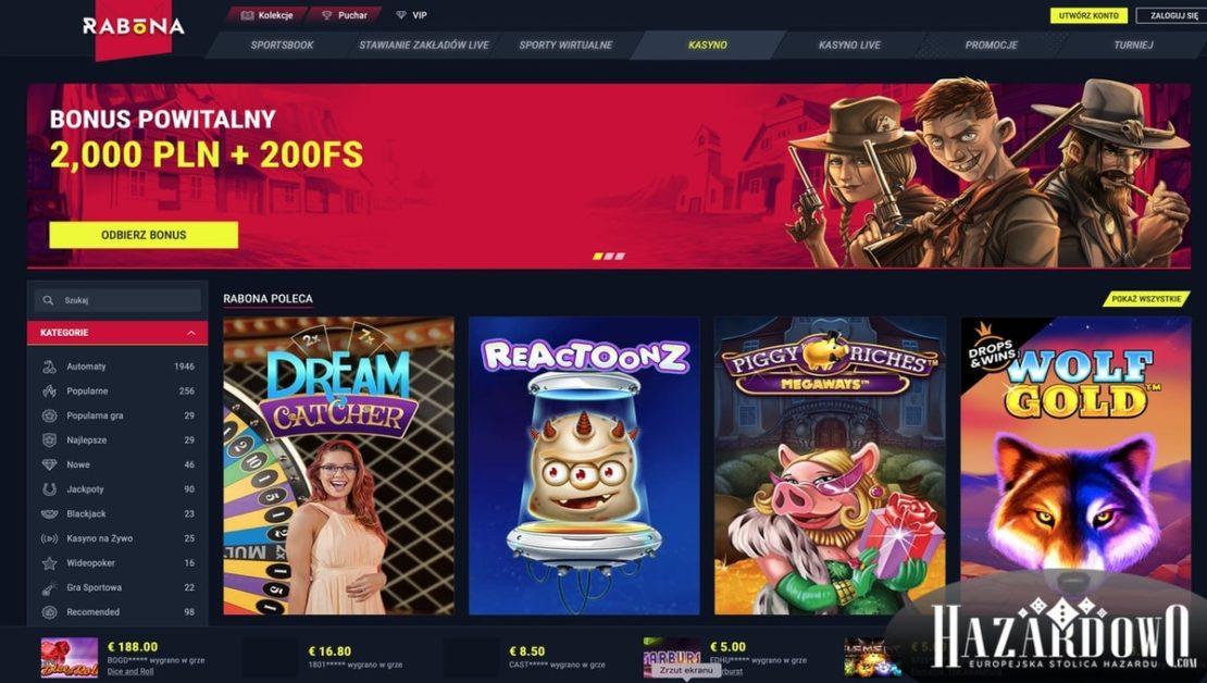 Kasyno Rabona - Lobby Desktop